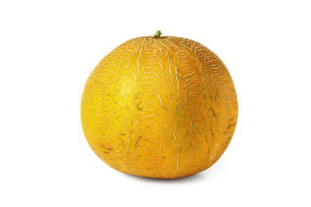 Ripe yellow melon isolated on white 版權商用圖片