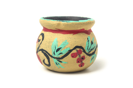 Childrens craft - clay pot painted in watercolor isolated on white Banco de Imagens