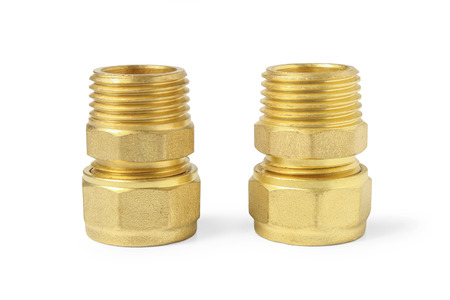 Bronze fittings for metal-plastic pipes installation isolated on white background