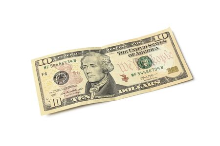 Ten dollar bill isolated on a white background
