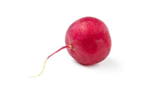 Ripe red radish close up isolated on white