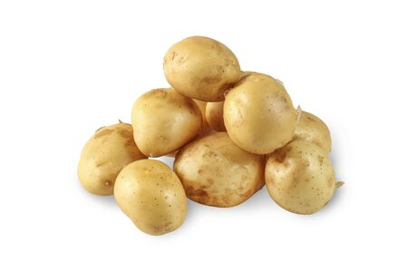 Fresh young potatoes isolated on white background