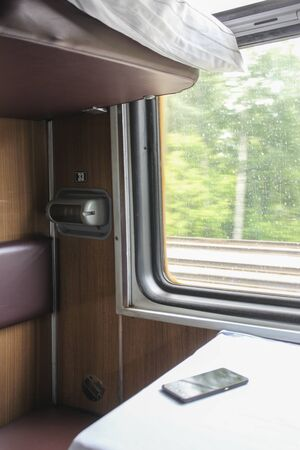 Interior of a passenger train compartment close up