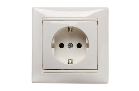 Single-phase household electrical outlet with grounding contact in a decorative frame isolated on white Zdjęcie Seryjne
