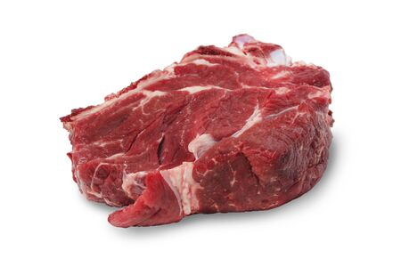 A piece of fresh beef closeup isolated on a white background Stock Photo