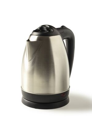 Metal electric kettle isolated on white background