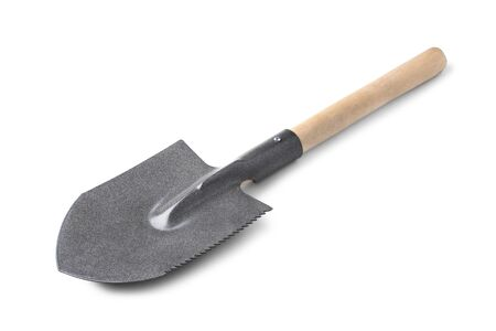 Sapper shovel closeup isolated on a white background