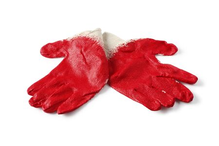 Rubberized red work gloves isolated on white background Stockfoto