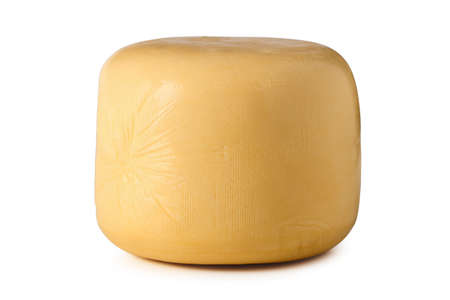 Whole cheese head isolated on white background