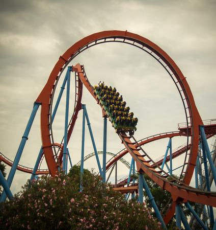 Roller coaster at an amusement park in Tarragona, Catalonia.
