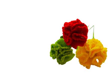 Crochet Carnation flower handmade ,isolated on white background