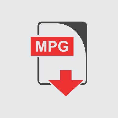 mpg: MPG file Icon flat Illustration