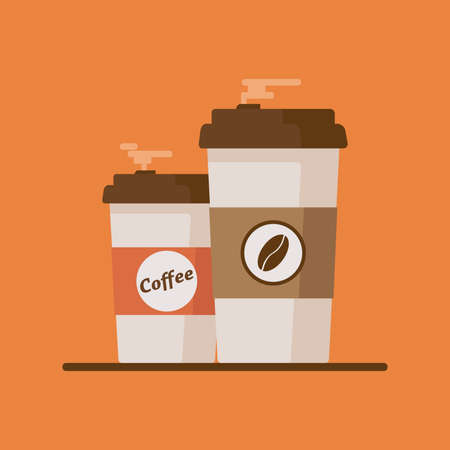 Coffee cup with coffee beans on orange background.
