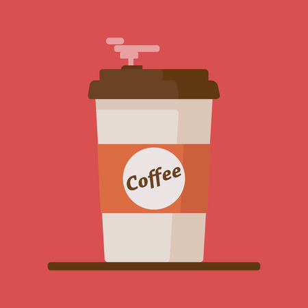 throw up: Coffee cup icon with text coffee on red background.
