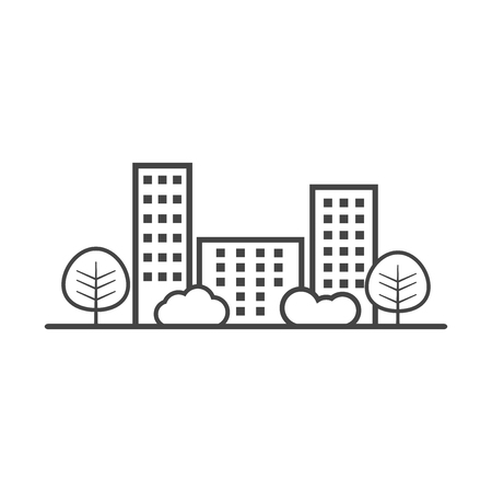 city illustration in flat style. Building, tree and shrub on white background 向量圖像