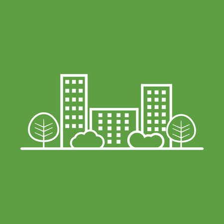 shrub: city illustration in flat style. Building, tree and shrub on green background