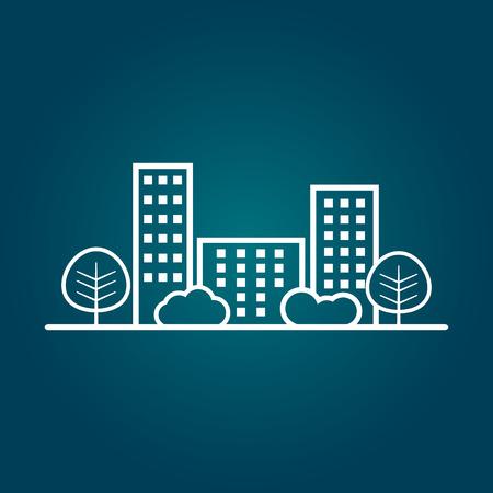 shrub: city illustration in flat style. Building, tree and shrub on blue background