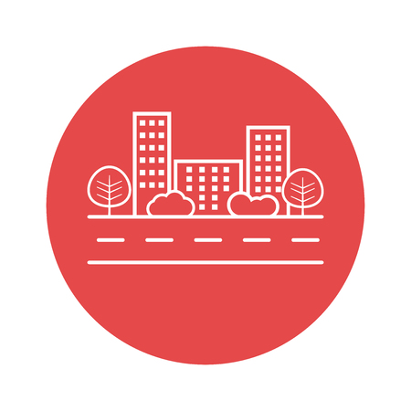 shrub: city illustration in flat style. Building, tree and shrub on road on red background
