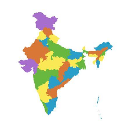 carte Inde avec les Etats fédéraux.