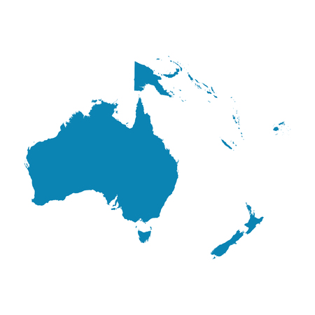 Map of Oceania on a white background.