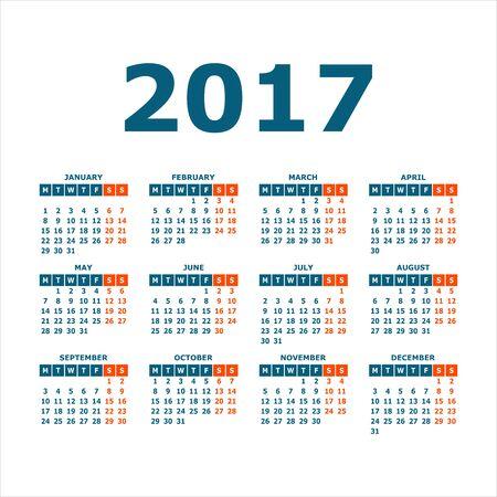 desk calendar: 2017 Calendar Year on White Background. Illustration