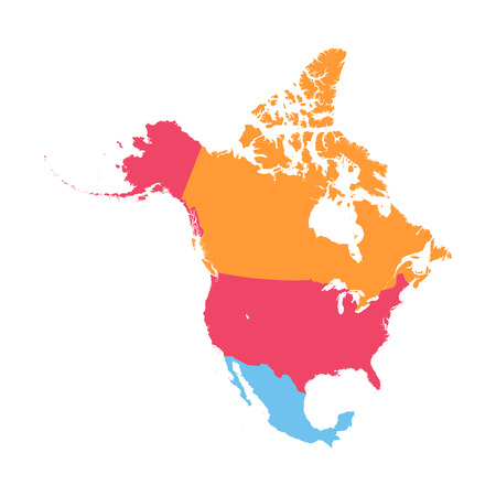 Amérique du Nord carte Vecteurs
