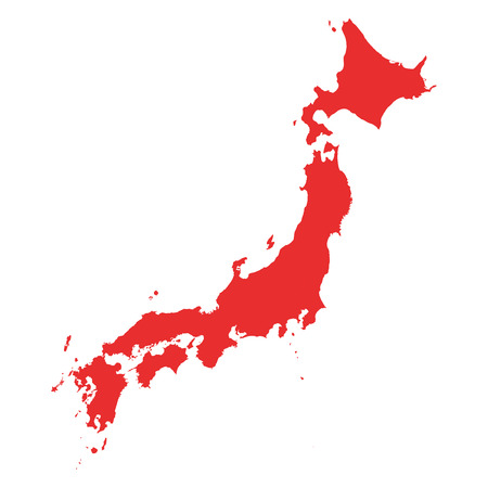 Japan Map on white background Ilustrace