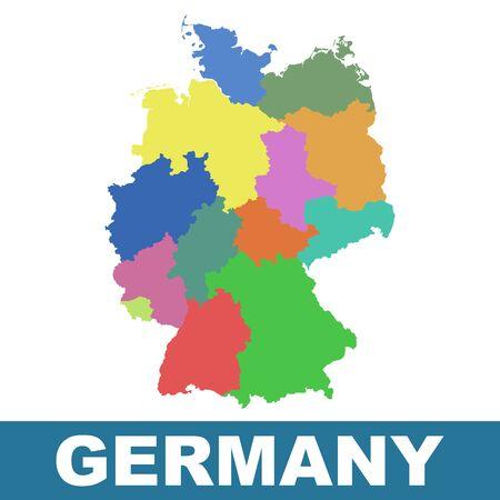 carte Allemagne avec les Etats fédéraux.