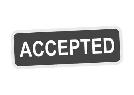 acknowledged: Accepted stamp. Illustration