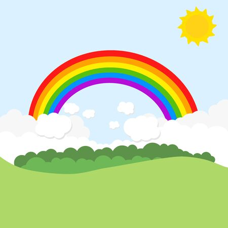 Landscape with rainbow and sun.