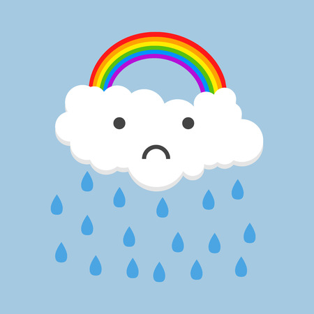 Color sad rainbow with rain. Illustration