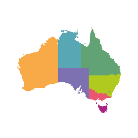 Australia map color with regions. Illustration