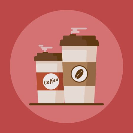 Coffee cup with coffee beans on red background.
