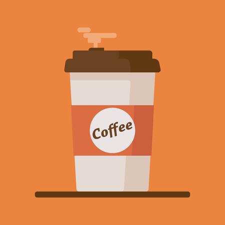Coffee cup icon with text coffee on orange background. Illusztráció