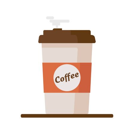 Coffee cup icon with text coffee on white background. Ilustração