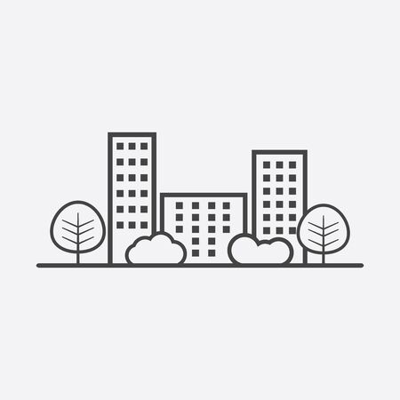 shrub: city illustration in flat style. Building, tree and shrub on grey background