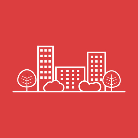 construction firm: city illustration in flat style. Building, tree and shrub on red background