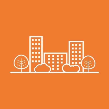 shrub: city illustration in flat style. Building, tree and shrub on orange background