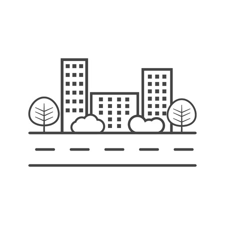 shrub: city illustration in flat style. Building, tree and shrub on road on white background