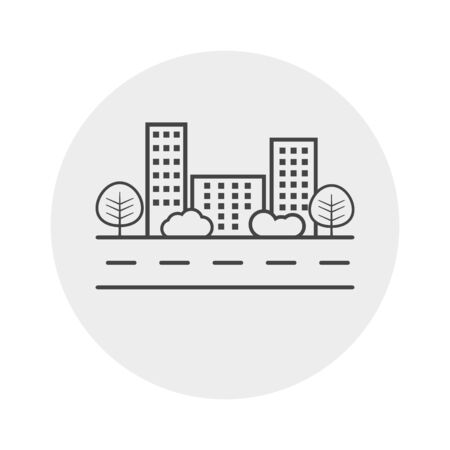 shrub: city illustration in flat style. Building, tree and shrub on road on grey background