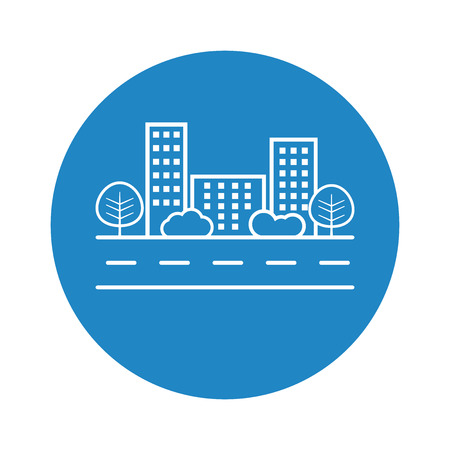 shrub: city illustration in flat style. Building, tree and shrub on road on blue background