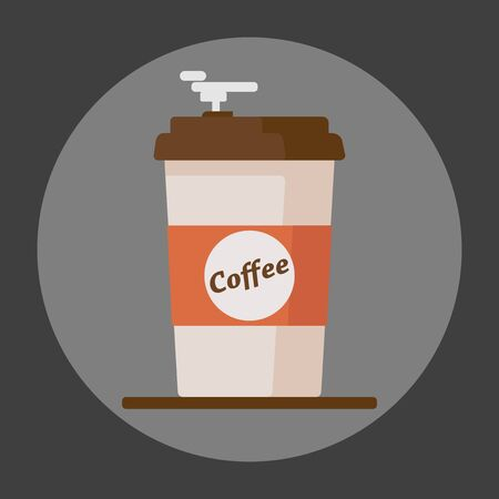 Coffee cup icon with text coffee on grey background.