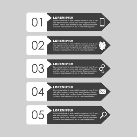 Infographic templates for business. Black and white flat vector illustration
