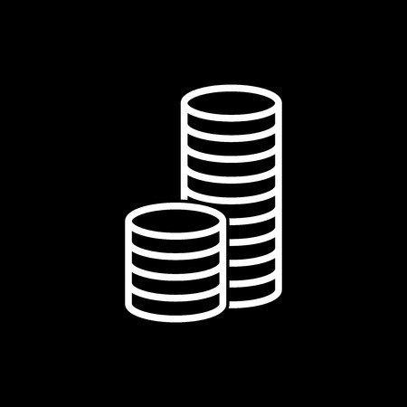 stack of coins: Stack coins icon. Money flat vector illustration on black background