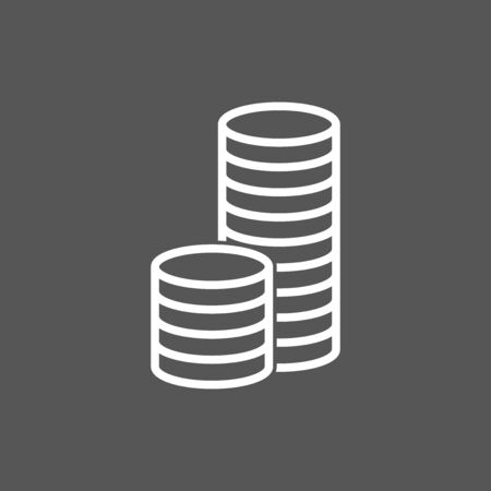 stack of coins: Stack coins icon. Money flat vector illustration on grey background
