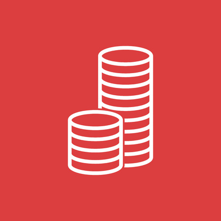 stack of coins: Stack coins icon. Money flat vector illustration on red background