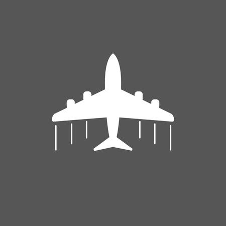 airways: Plane icon. Airplane flat vector illustration on grey background Illustration