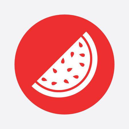 juicy: Watermelon icon. Juicy ripe fruit on red background