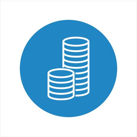 stack of coins: Stack coins icon. Money flat vector illustration on blue background Illustration