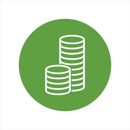 stack of coins: Stack coins icon. Money flat vector illustration on green background